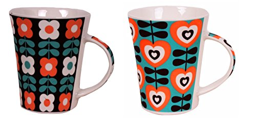 Purpledip Ceramic Tea/Coffee Mugs or Large Cups: Set of 2; Made of Bone China with Classy Pattern Print (sku#10150a)  available at amazon for Rs.300