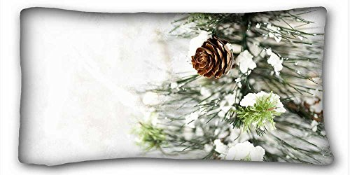 Custom Cotton & Polyester Soft ( Nature Trees winter snow trees ) Custom Cotton & Polyester Soft Rectangle Pillow Case Cover 20x36 inches (One Side) suitable for Full-bed PC-Green-26567