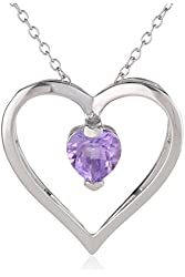 Sterling Silver Open Heart Pendant Necklace, 18""