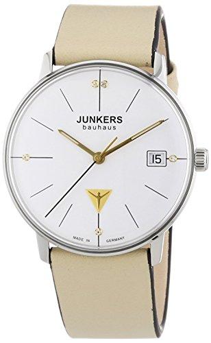 Junkers Bauhaus - Reloj de cuarzo para mujer, correa de cuero color beige