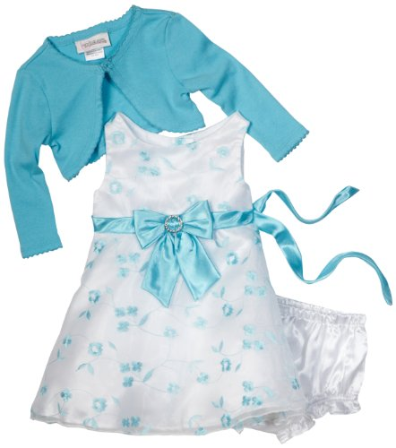 Cheap Youngland Baby-girls Newborn 3 Piece Embroidery Sleeveless Dress, Turquoise, 24 Months