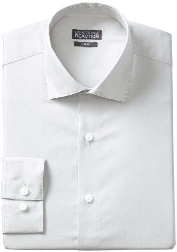 Kenneth Cole Reaction Men's Slim Fit Chambray Dress Shirt, White, 17 34-35