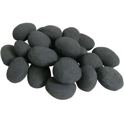Set of 24 Ceramic Pebbles for Fire Pit or Fireplaces in Black (Ceramic Rocks Fireplace compare prices)