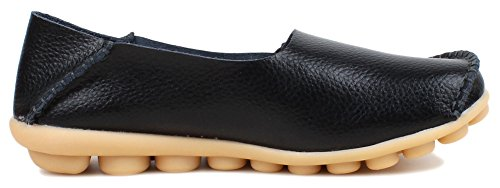 kunsto womens leather casual loafer shoes us size 9 black