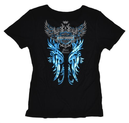 Maui Harley-Davidson Ladies Tattoo Blade Flight Black T-Shirt (Medium)