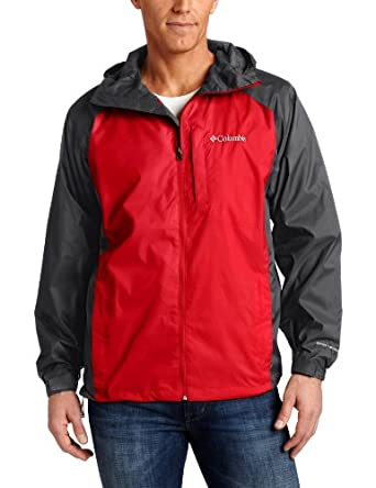 Columbia Men's Straight Line Rain Jacket, Grill/Bright Red, Small