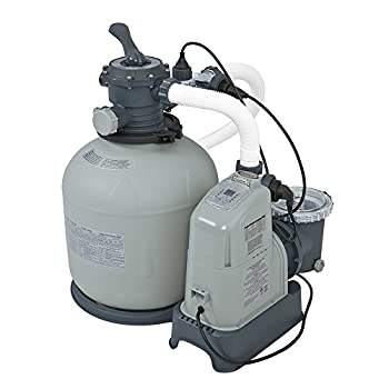 Intex Krystal Clear 2150 GPH Sand Filter Pump & Saltwater System with E.C.O. (Electrocatalytic Oxidation) for Above Ground Pools, 110-120V with GFCI