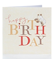 Bear & Bird Happy Birthday Card
