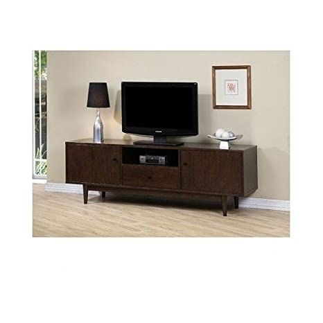 """Traditional Entertainment Center 72"""" Rubberwood with Rich Walnut Finish, Elegant and Economical Home Furniture for Media, Audio and Video Equipment Storage and TV Stand and Hides Wires"""