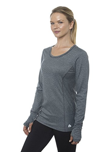 RBX Active Women's Long Sleeve Jaquard Striped Peached Knit Top Black S