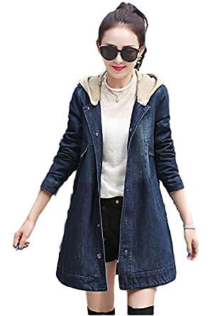 Women s faux fur fleece lined denim jeans trench jacket overcoat with