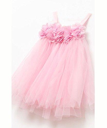 Baby Girl Summer Dress One-Piece Suspender Dress Kids Pleated Straps Skirt Tutus (5-6 Years, Pink)