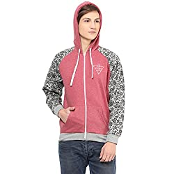 Rust Heather Fleece with Contrasting Grey Heather Fleece Sleeve with print Mens Hooded Jacket