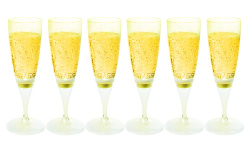 Ivation LED Waterproof Light-Up Champagne Flute Cups - Yellow LED Cup