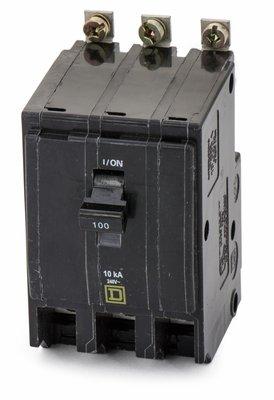 Qob3100 Square D Circuit Breaker (Qob) Standard, 100A, 3-Pole, 240 Vac, 3-Phase, Bolt-On
