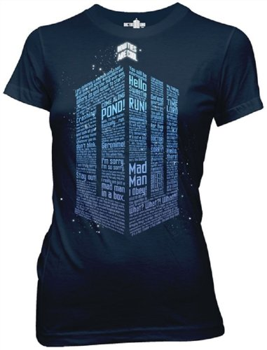 Doctor Who Logo Of Words Junior'S Navy Blue T-Shirt M