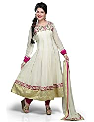 Utsav Fashion Women's Off White Faux Georgette Anarkali Style Churidar Kameez-Medium
