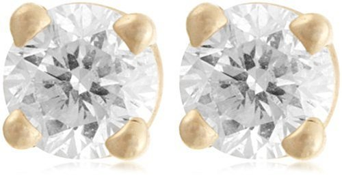10k Yellow Gold Round Diamond Stud Earrings (1/4 cttw, J-K Color, I2-I3 Clarity)