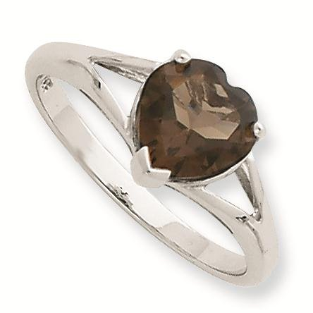 Sterling Silver Rhodium Smokey Quartz Ring