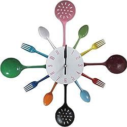 Cutlery Kitchen Metal Utensil Wall Clock Spoon Fork Ladel Clock / Decorative Clock, Colorful (Muti-color)