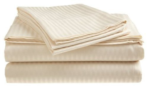 300 Thread Count 100% Cotton Dobby Stripe Sheet Set- Assorted Colors/sizes (King, Ivory)