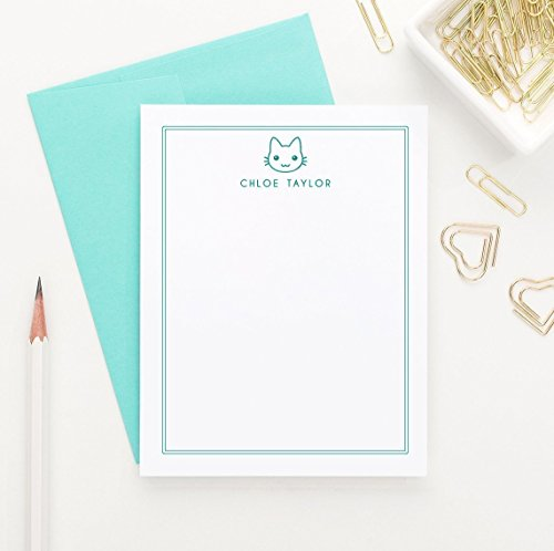Personalized Stationery for Girls, Cat Personalized Stationery Set, Cat Lovers Gift for Women, Personalized Stationary Note Cards, Your Choice of Colors, Set of 10 flat note cards and envelopes