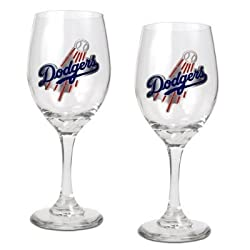 Los Angeles Dodgers 2pc Wine Glass Set - Primary Logo MLB Baseball