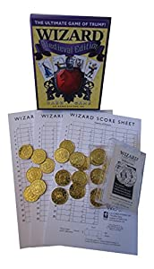 Wizard Playing Cards Medieval Edition Bundle - 3 Items: Card Game, Bidding Coins, & Score Sheets