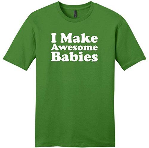 I Make Awesome Babies Young Mens T-Shirt Medium Kiwi Green front-779981