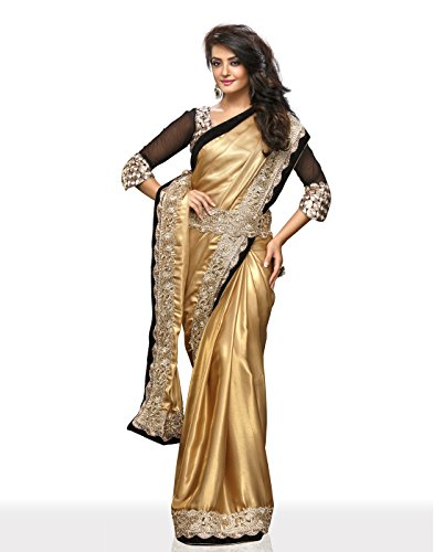 Chirag Sarees Synthetic Stone Work Saree with Blouse Piece (4407 _Gold)