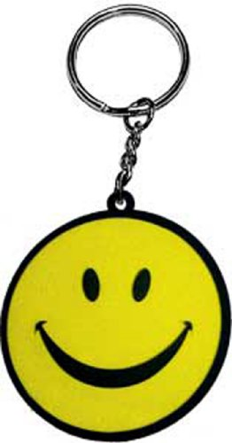 Licenses Products Yellow Happy Face Rubber Keychain - 1