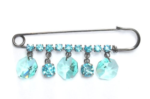 Swarovski Crystal Kilt Pin Brooch with Aqua Drops in Gun Metal / Drop Brooch in Aqua / Kilt Pin by Krystal / Black Plated Swarovski Crystal Fancy Brooch / Aqua Brooches / Kilt Pins Collection For Dresses & Handbags