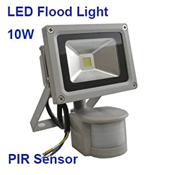 10W LED SMD Flood Light w/ PIR Sensor Perfect for Security Outdoor Waterproof IP65