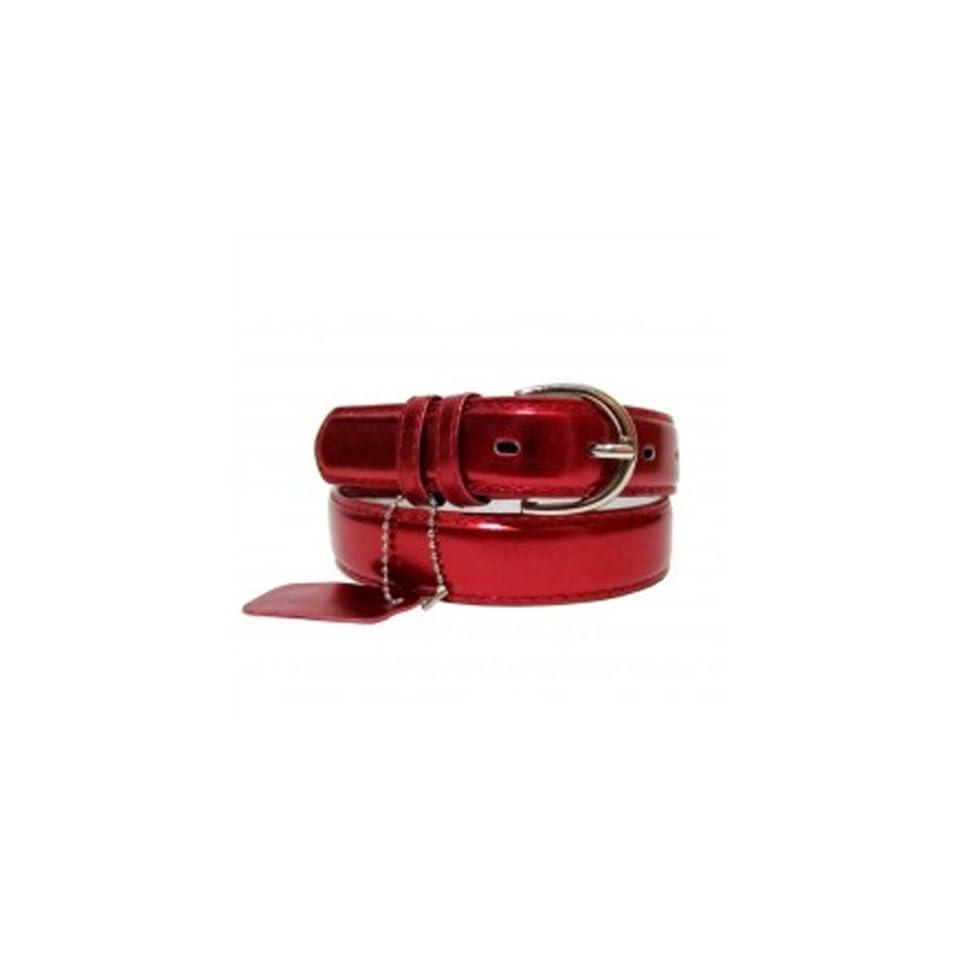 Genuine Leather Women's Dress Belt Basic Colors Metallic Red Large Apparel Belts