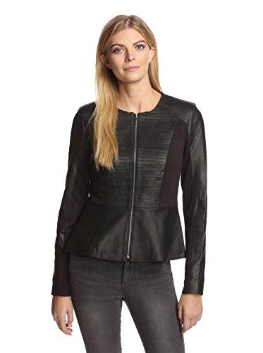 Bagatelle City Women's Leather Combo Peplum Jacket
