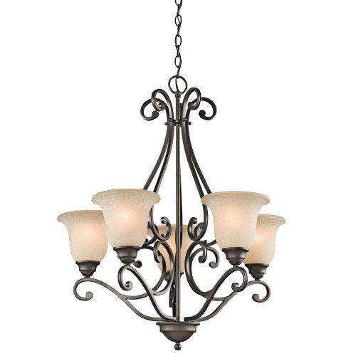Kichler Lighting 43224Oz 5-Light Chandelier With White Scavo/Light Umber Glass, Olde Bronze Finish front-908424