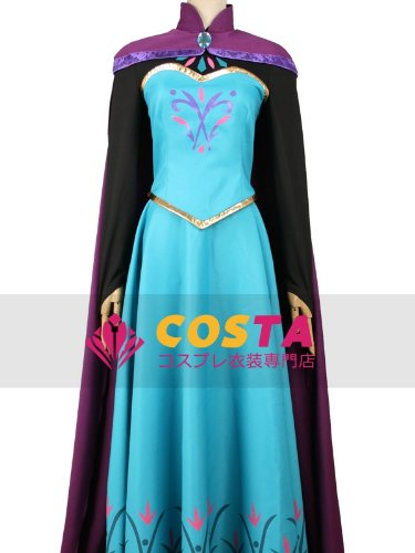 Ana and snow Queen Frozen Elsa Coronation dress cosplay costume