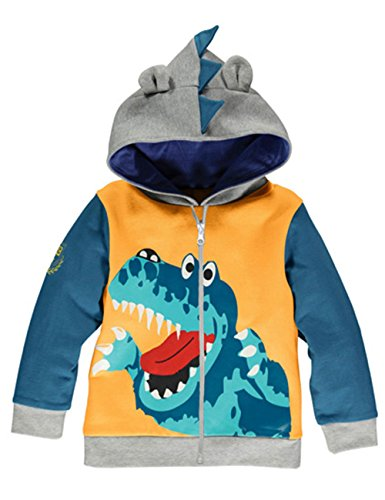 Tecrok Little Boys Dinosaur Printed Fleece Fall Winter Hoodies Coat Sets(yellow,5-6Y) (Colleges For Costume Designers)