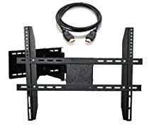 "Masione Swivel Tilt Articulating Full-Motion TV Wall Mount Bracket for Most 17"" - 60"" Flat Panel Screen TVs with VESA up to 700x400mm, with HDMI Cable"