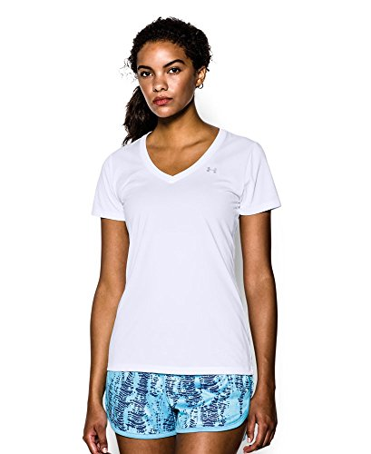 Under Armour Women's Tech V-Neck, White (100), X-Small