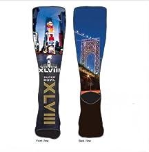 Super Bowl XLVIII City Sublimation Crew Socks Men39s Large 10-13 - For Bare Feet
