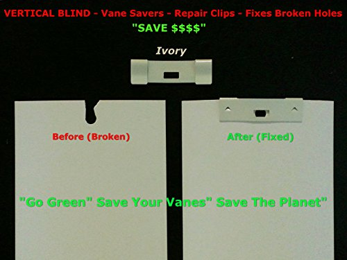 36 Pack Vertical Blind Vane Saver ~ Ivory Curved Repair Clips ~ Fixes Broken Holes front-282863