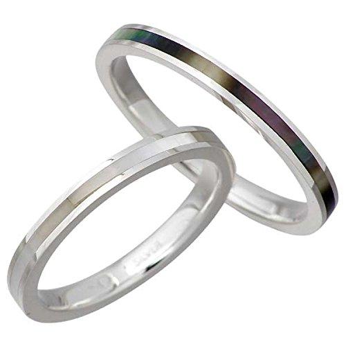 AQUA SILVER アクアシルバー シェル シルバー ペア リング 指輪 3~21号 ASR161BK-WH-P