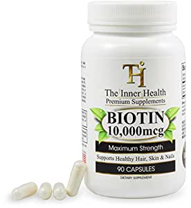 Biotin for Hair Growth - Maximum Strength 10,000 Mcg - 90 Capsules - Supports Healthy Hair, Skin & Nails - Made in USA - Premium Biotin Supplement You Can Trust - The Inner Health