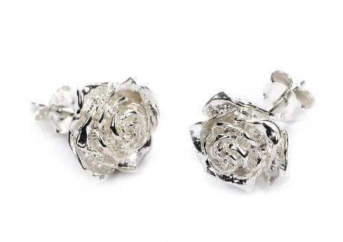 Dower  &  Hall, White Rose - Solid Sterling Silver Carved Rose Stud Earrings