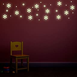 Glow In The Dark Snow Flakes Repositionable Kids Bedroom Wall Stickers Set of 30