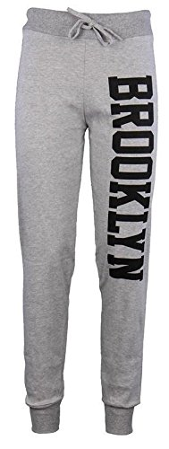 Janisramone Donne Brooklyn corridori stampa il jogging tuta pantaloni Brooklyn Joggers Grey ML