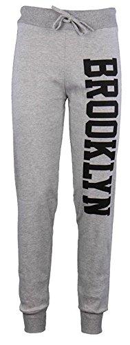 Janisramone Donne Brooklyn corridori stampa il jogging tuta pantaloni Brooklyn Joggers Grey ML
