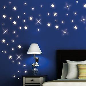 wandtattoo loft 40 st ck nachtleuchtende sterne und punkte f r einen tollen sternenhimmel in. Black Bedroom Furniture Sets. Home Design Ideas