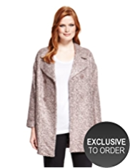 Plus Sequin Embellished Double Breasted Coat with Wool